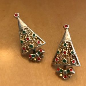 Christmas Tree Earrings Crystals Wire Filagree VTG